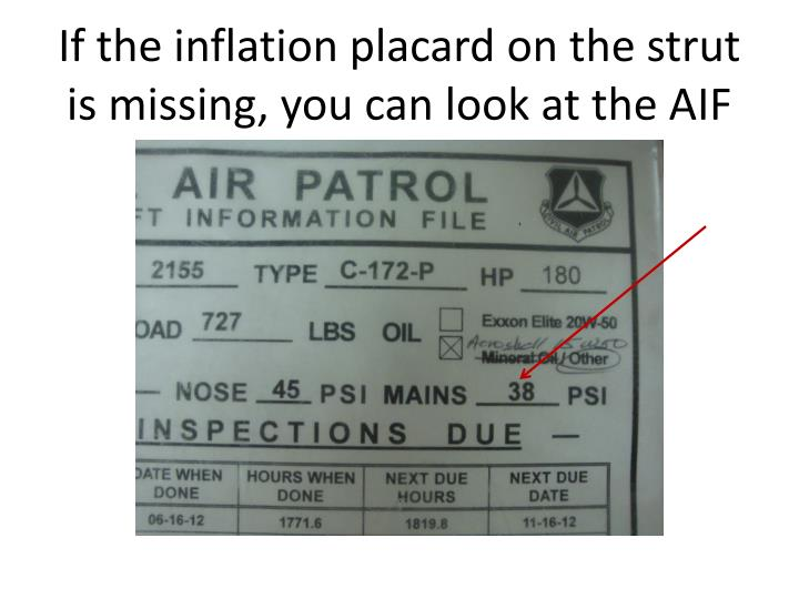 If the inflation placard on the strut is missing, you can look at the AIF