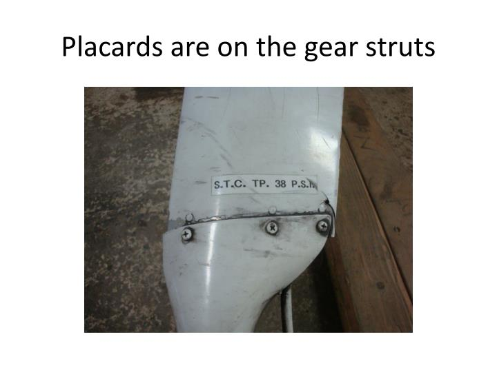 Placards are on the gear struts