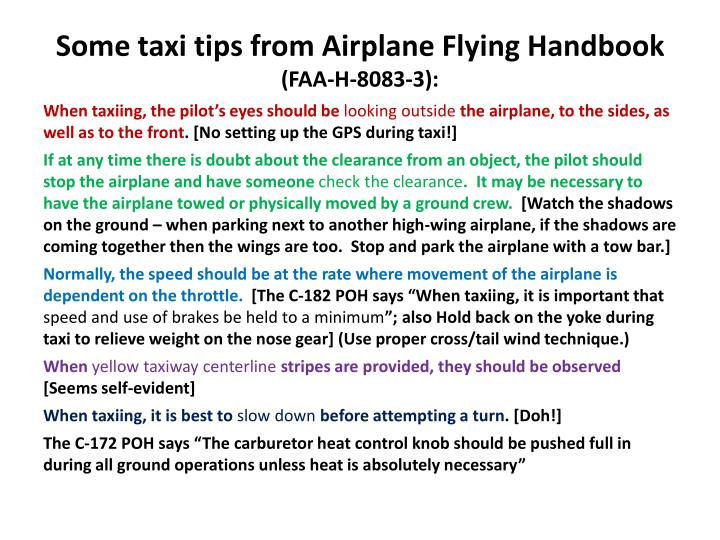 Some taxi tips from Airplane Flying Handbook