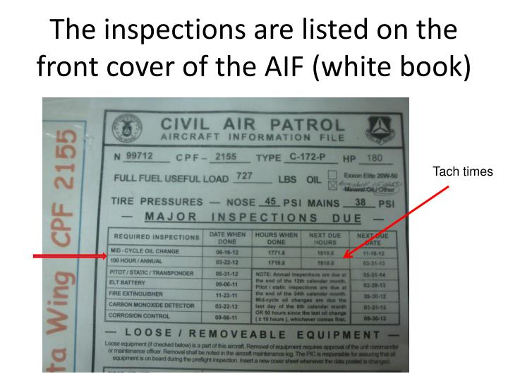 The inspections are listed on the front cover of the AIF (white book)