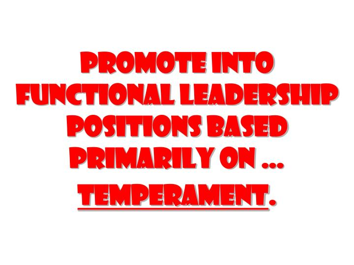 Promote into functional leadership positions based primarily on
