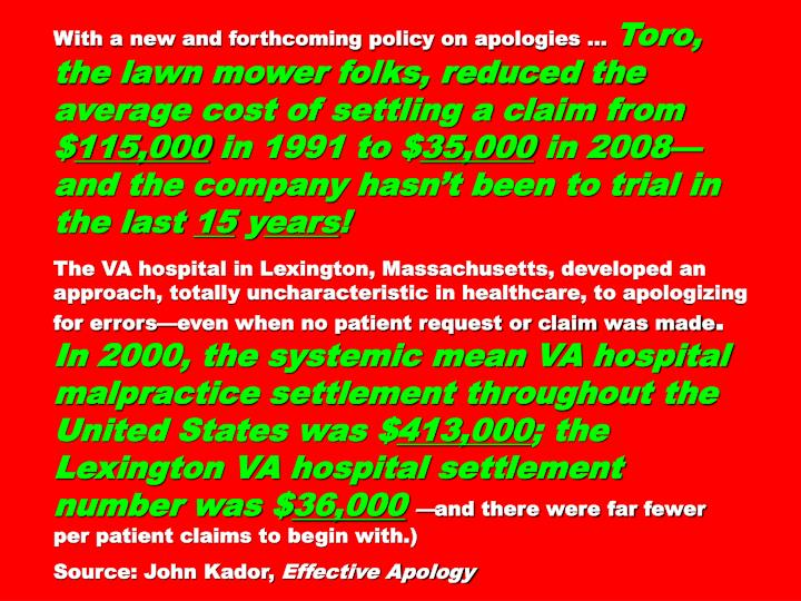 With a new and forthcoming policy on apologies