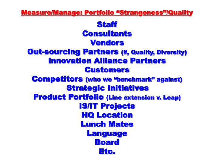 """Measure/Manage: Portfolio """"Stran"""