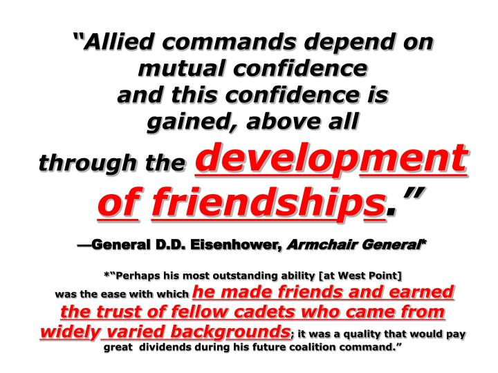 Allied commands depend on mutual confidence