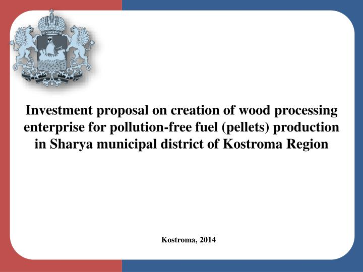 Investment proposal on creation of wood processing enterprise