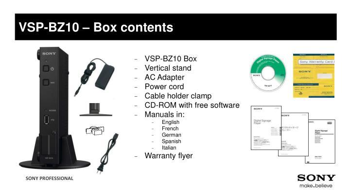 VSP-BZ10 – Box contents