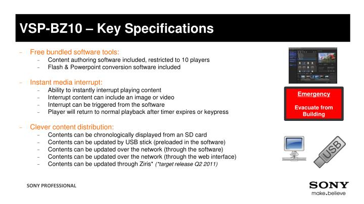 VSP-BZ10 – Key Specifications