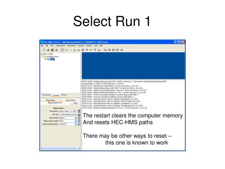 Select Run 1