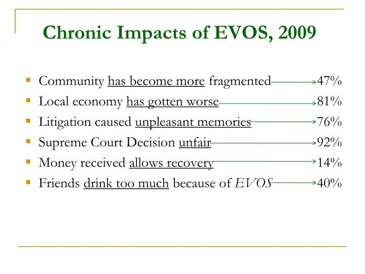 Chronic Impacts of EVOS, 2009