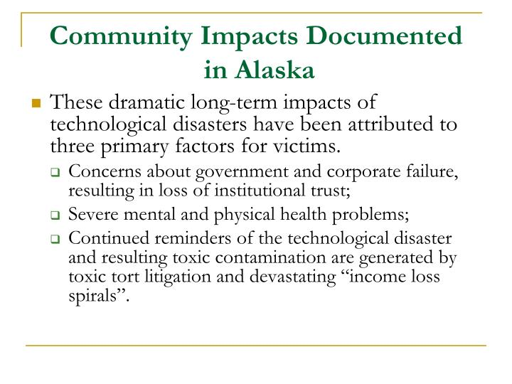 Community Impacts Documented