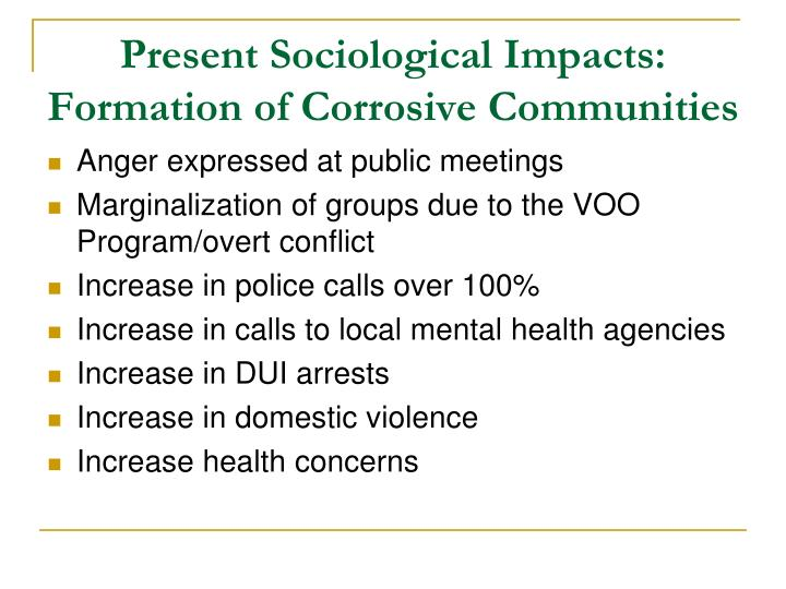 Present Sociological Impacts: