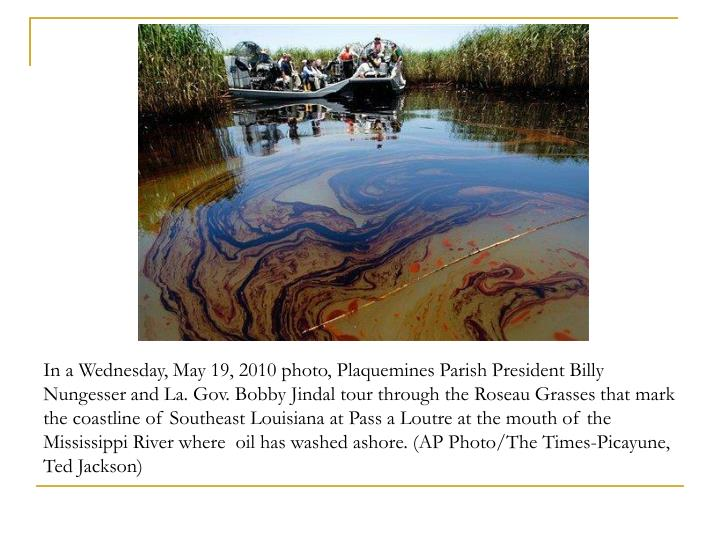 In a Wednesday, May 19, 2010 photo, Plaquemines Parish President Billy Nungesser and La. Gov. Bobby Jindal tour through the Roseau Grasses that mark the coastline of Southeast Louisiana at Pass a Loutre at the mouth of the Mississippi River where  oil has washed ashore. (AP Photo/The Times-Picayune, Ted Jackson)