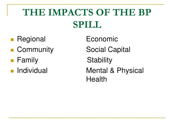 THE IMPACTS OF THE BP SPILL