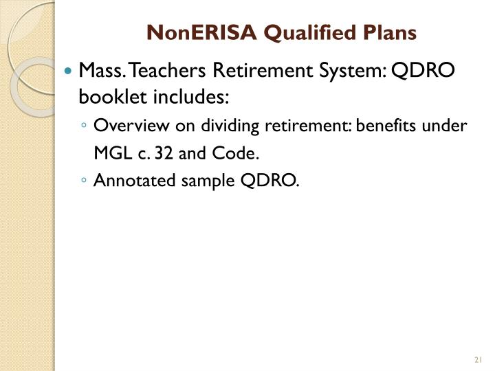 NonERISA Qualified Plans