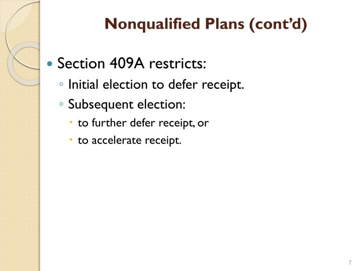 Nonqualified Plans (cont'd)