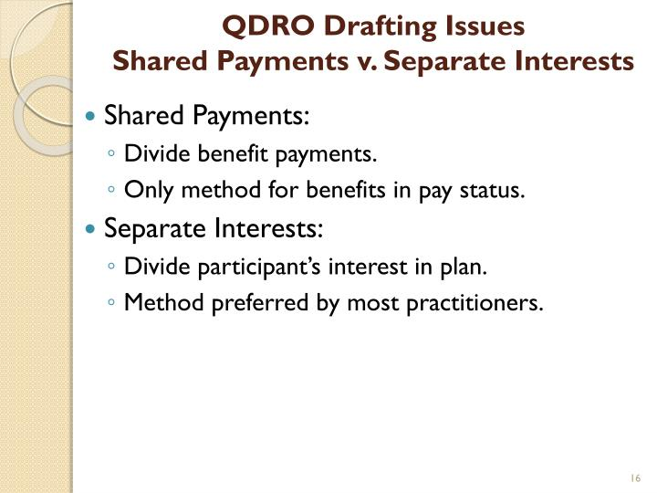 QDRO Drafting Issues