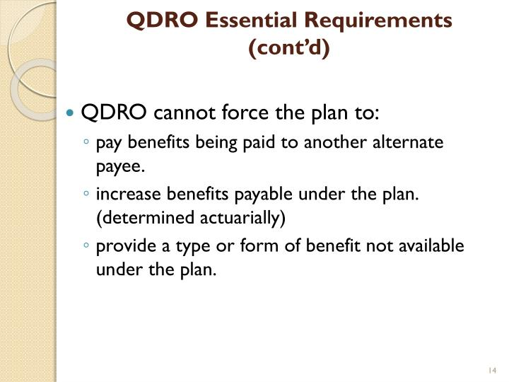 QDRO Essential Requirements