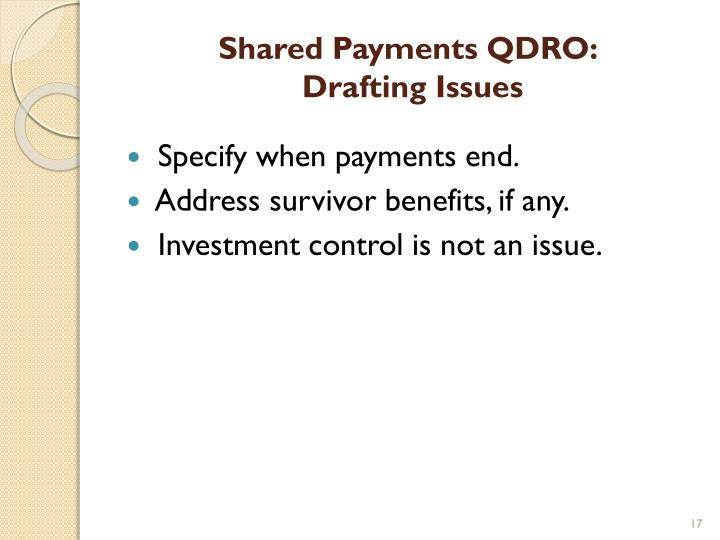 Shared Payments QDRO: