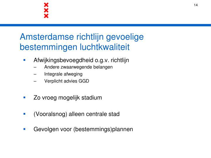 Amsterdamse richtlijn gevoelige bestemmingen luchtkwaliteit