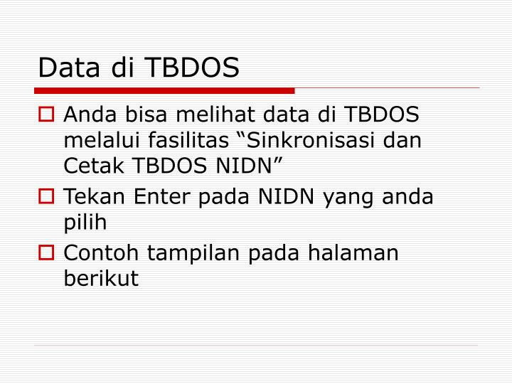 Data di TBDOS