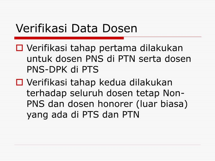 Verifikasi Data Dosen