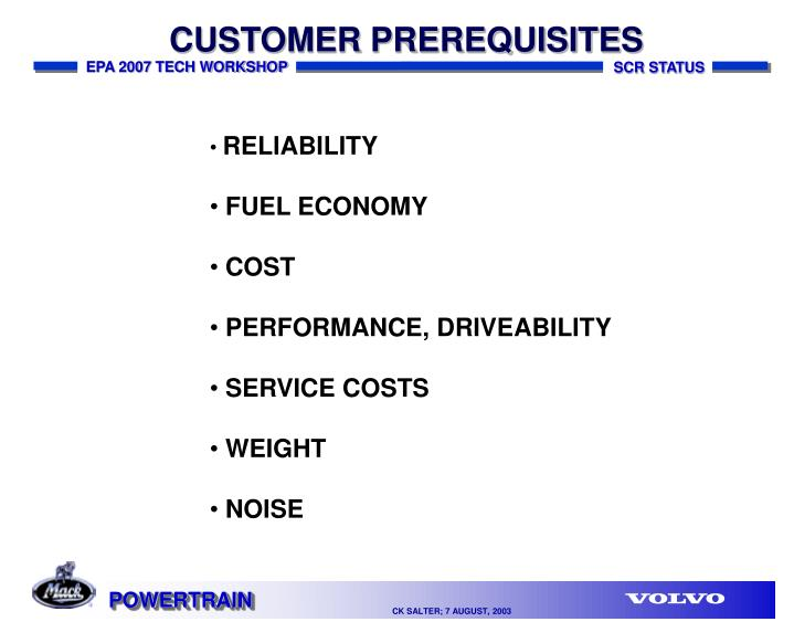 CUSTOMER PREREQUISITES