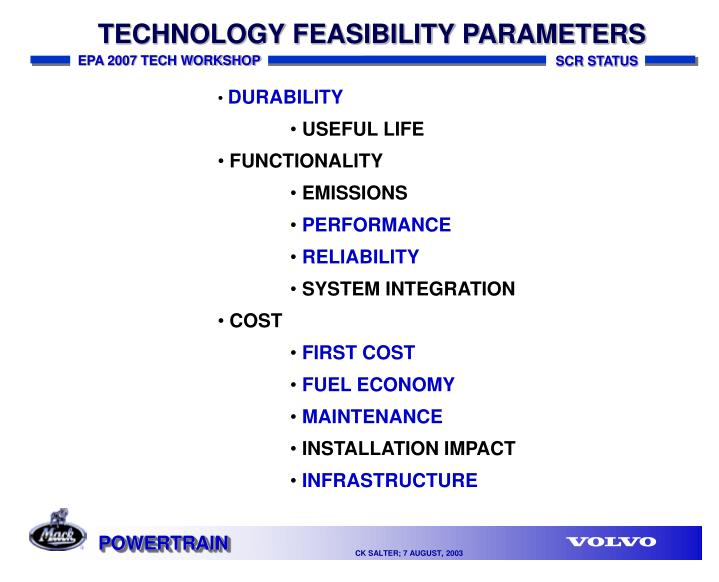 TECHNOLOGY FEASIBILITY PARAMETERS