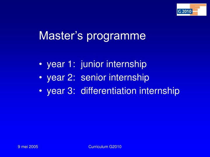 Master's programme