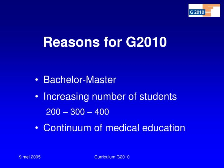 Reasons for g2010