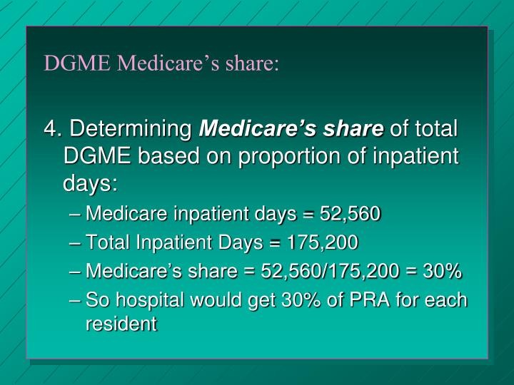 DGME Medicare's share: