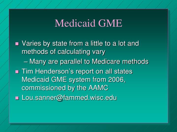 Medicaid GME