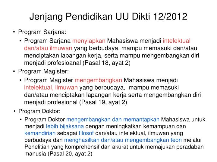 Jenjang Pendidikan UU Dikti 12/2012