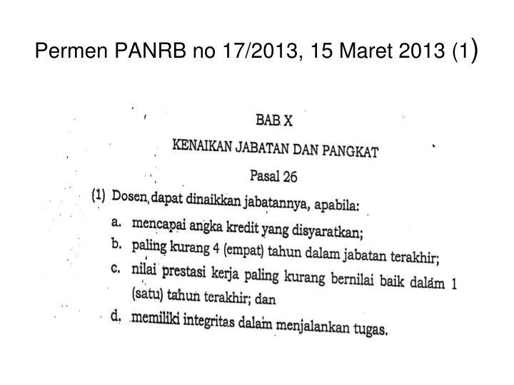 Permen PANRB no 17/2013, 15 Maret 2013 (1