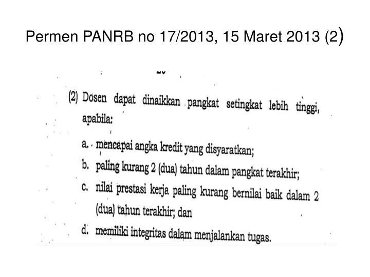 Permen PANRB no 17/2013, 15 Maret 2013 (2