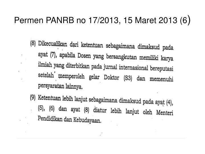 Permen PANRB no 17/2013, 15 Maret 2013 (6