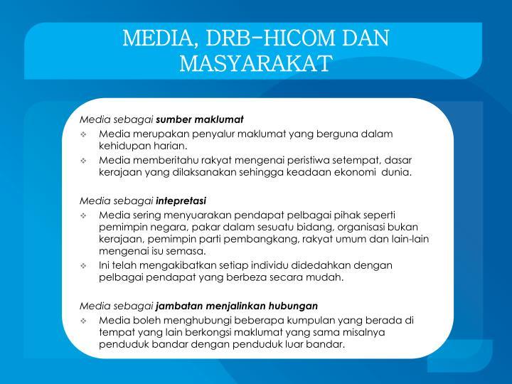MEDIA, DRB-HICOM DAN MASYARAKAT