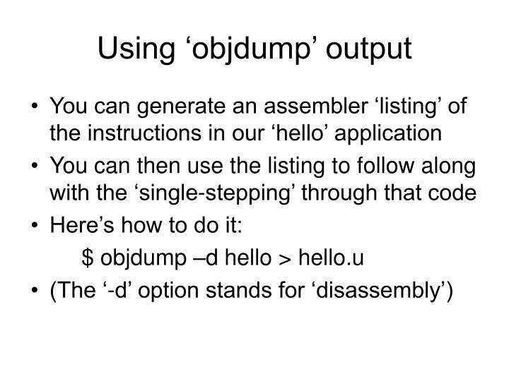 Using objdump output