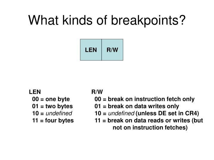 What kinds of breakpoints?