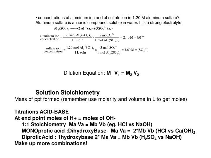 concentrations of aluminum ion and of sulfate ion in 1.20 M aluminum sulfate?