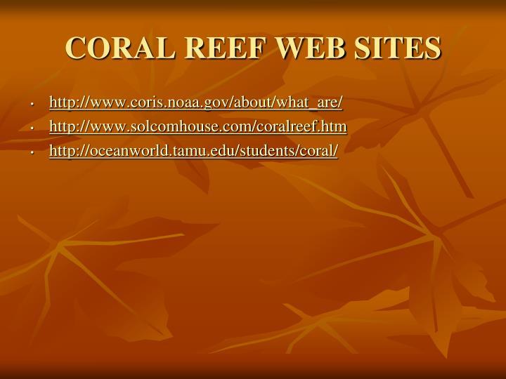 CORAL REEF WEB SITES