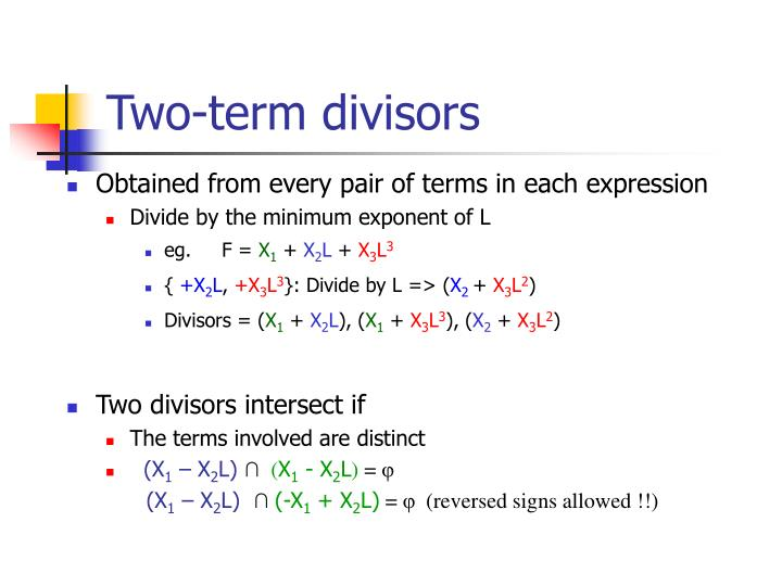 Two-term divisors