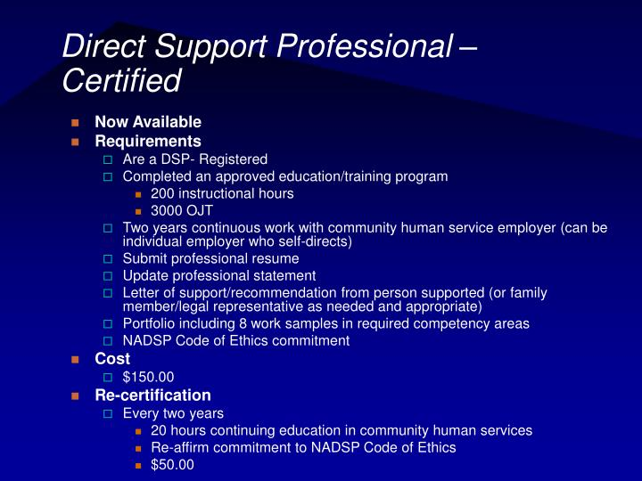 Direct Support Professional – Certified
