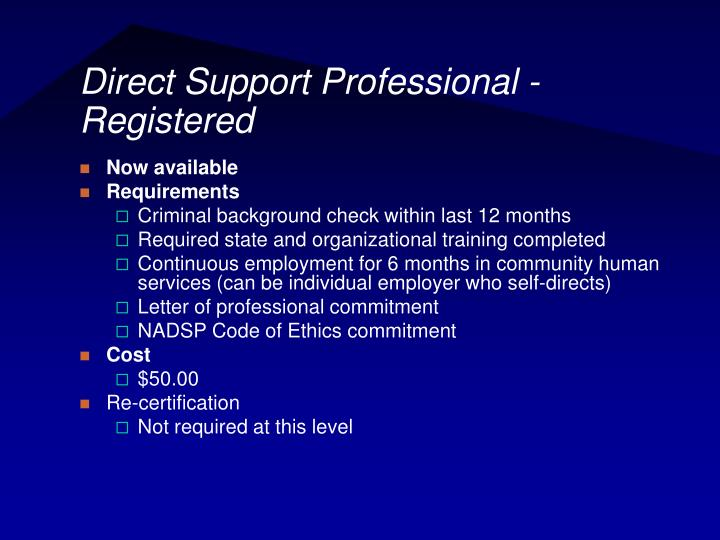 Direct Support Professional - Registered