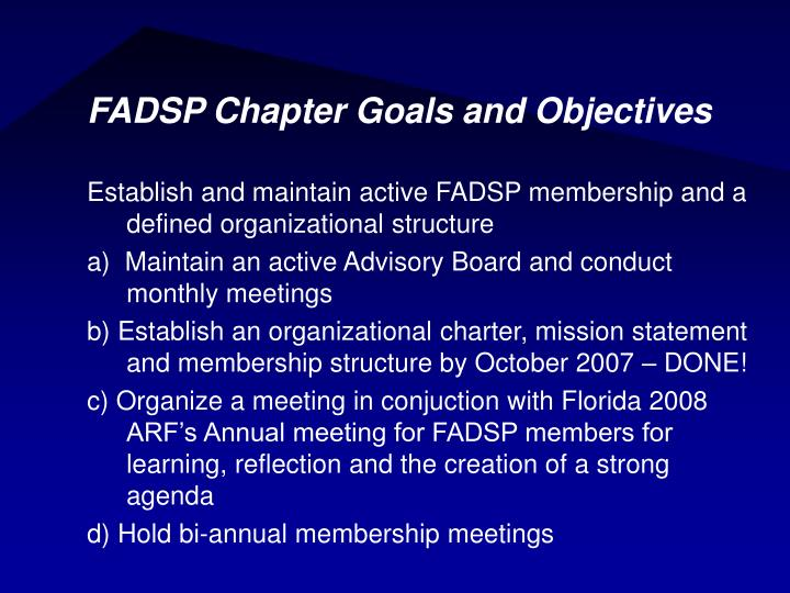 FADSP Chapter Goals and Objectives