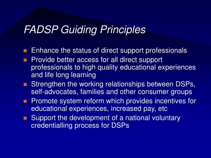 FADSP Guiding Principles