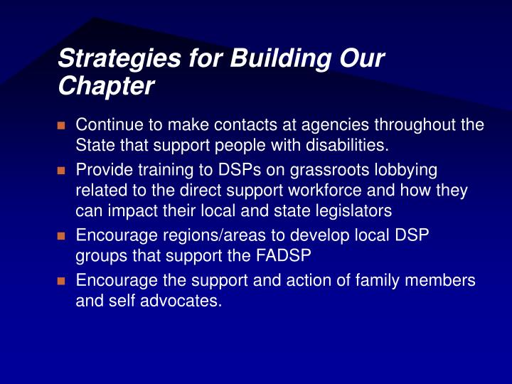 Strategies for Building Our Chapter