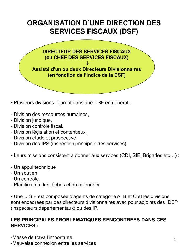 ORGANISATION D'UNE DIRECTION DES