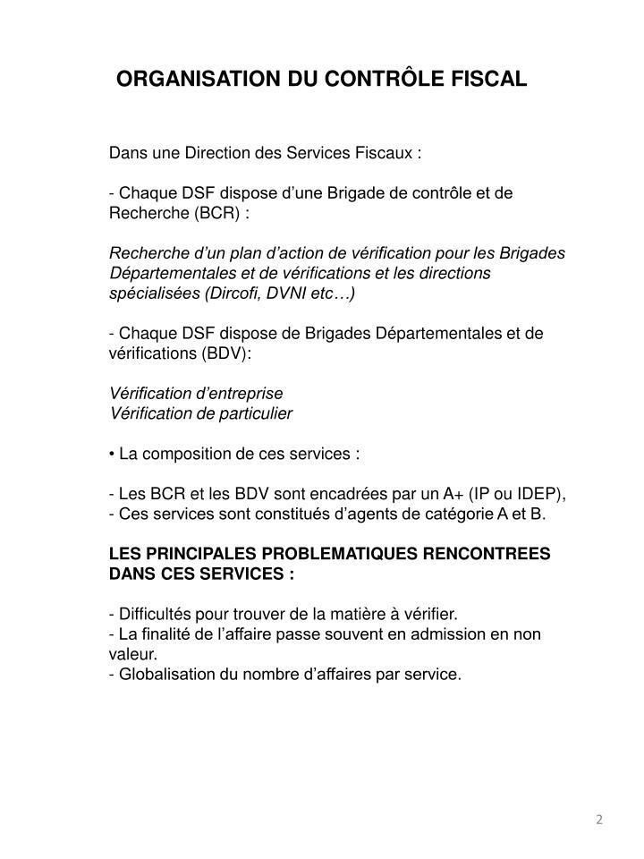 ORGANISATION DU CONTRÔLE FISCAL