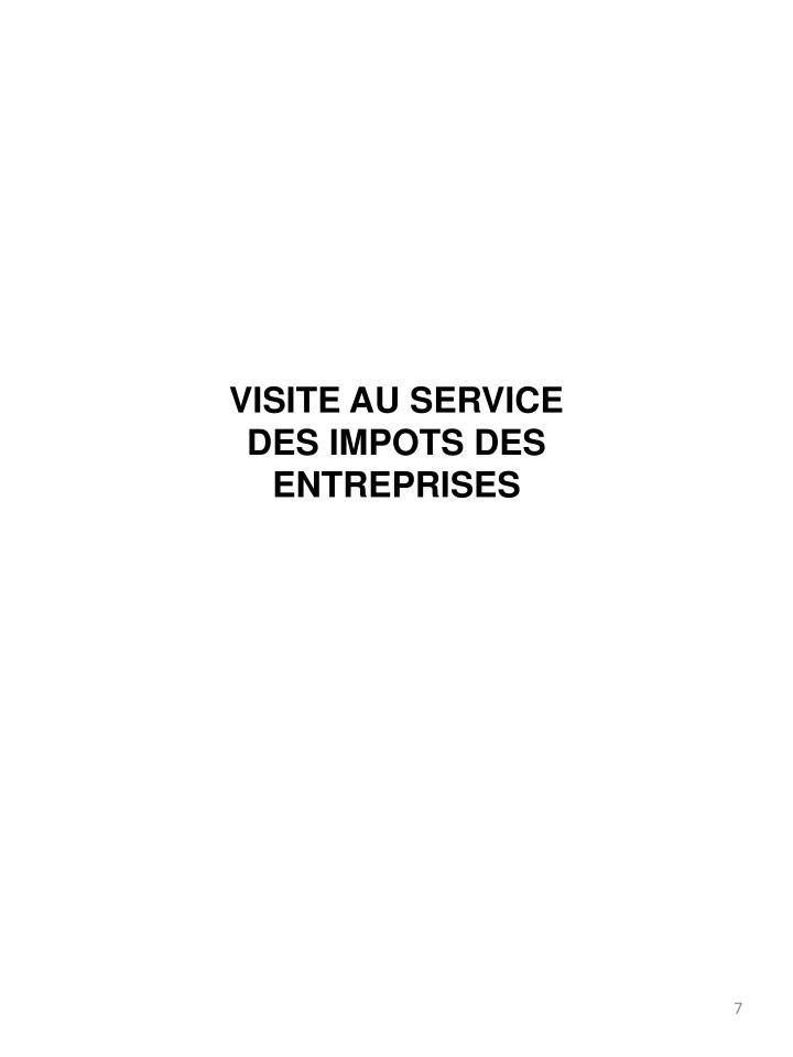 VISITE AU SERVICE