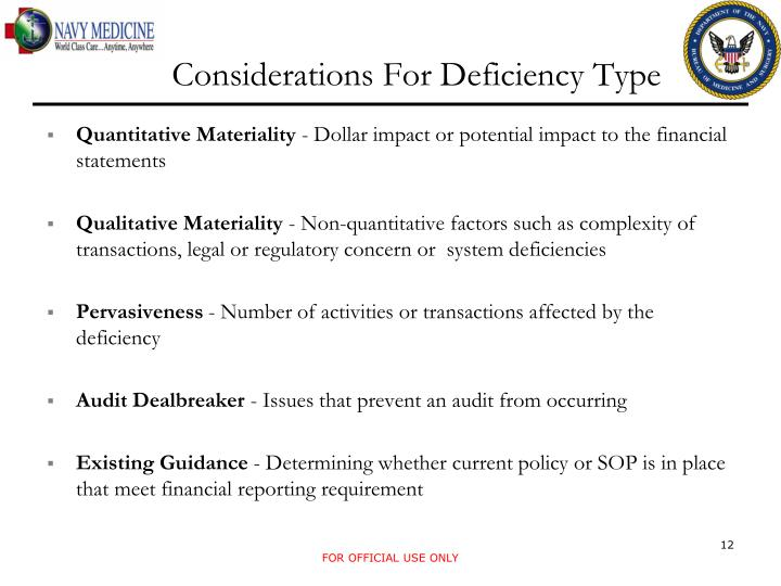 Considerations For Deficiency Type